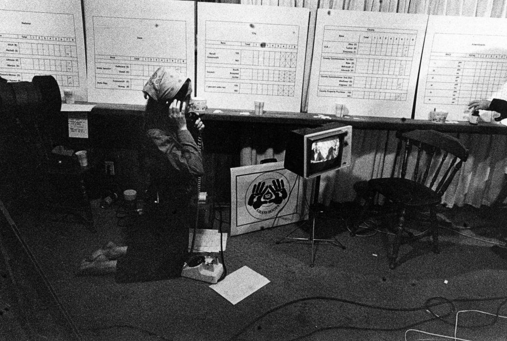 Katy Smith monitoring election returns at GrassRoots TV in 1980.