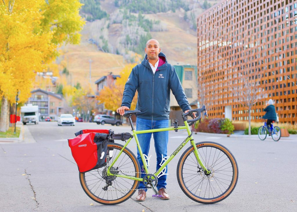 Roaring Fork Valley local Theo Williams rode his bike from Aspen to Santa Monica this fall to raise money for the Aspen Hope Center. Photo taken prior to his trip on Wednesday, Oct. 14, 2020, in downtown Aspen. (Photo by Austin Colbert/The Aspen Times).