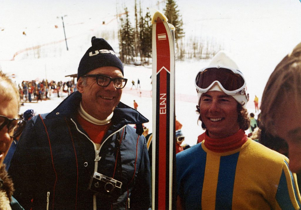 Dr. Robert Oden and Ingemar Stenmark at the finish area of the World Cup ski races at Highlands in March, 1976.
