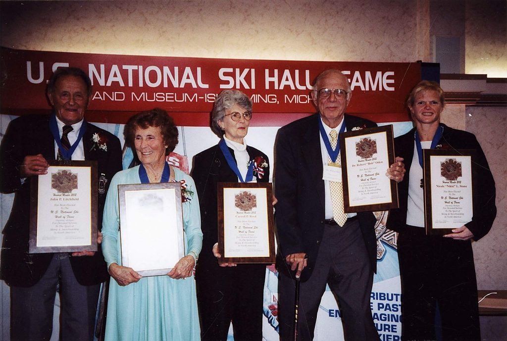 The U.S. National Ski Hall of Fame & Museum induction, October 2002. Left to right: John P. Litchfield, Georgene Bihlman, Carroll P. Reed, Dr. Robert