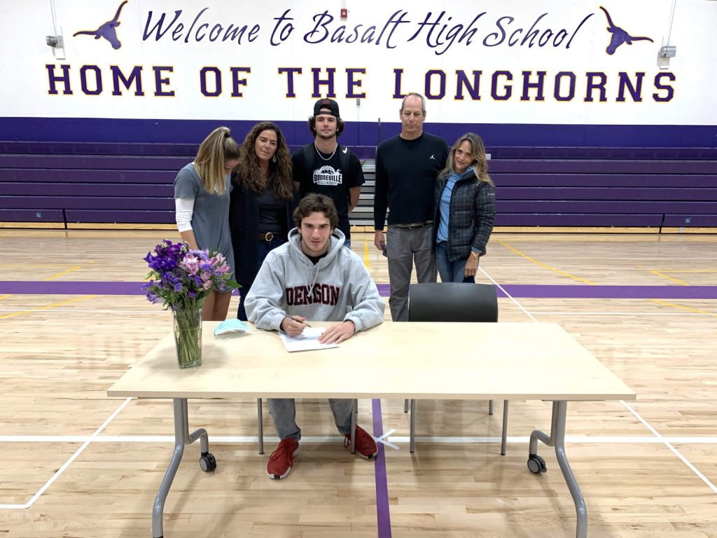 Basalt High School senior Shea Card signed his letter of intent on Wednesday, Nov. 11, 2020, to swim for Denison in Ohio.