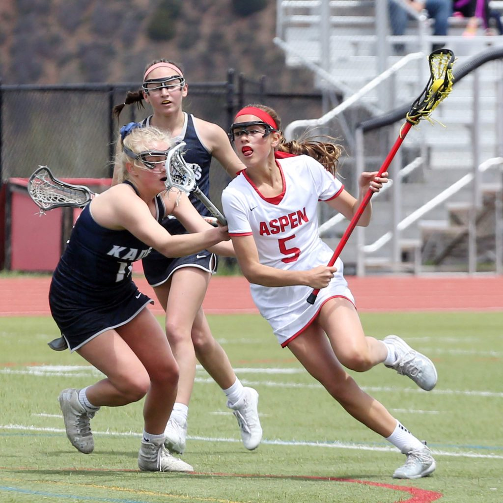 Aspen High School's Kylie Kenny plays against Air Academy on Saturday, May 11, 2019, on the AHS turf. (Photo by Austin Colbert/The Aspen Times)