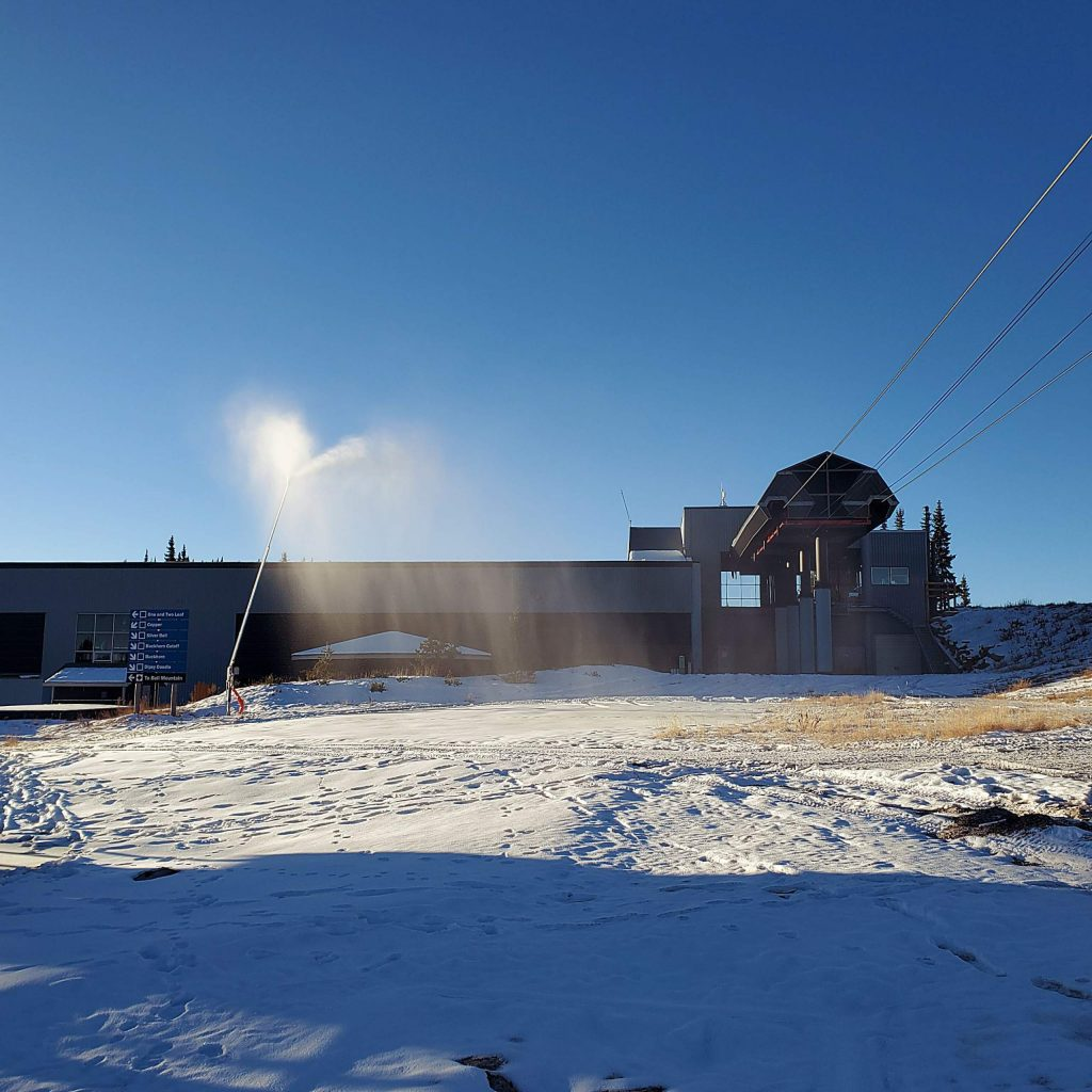 Aspen Skiing Co. expanded the snowmaking system to the top of Aspen Mountain. This gun by the gondola building makes snow on Nov. 1.
