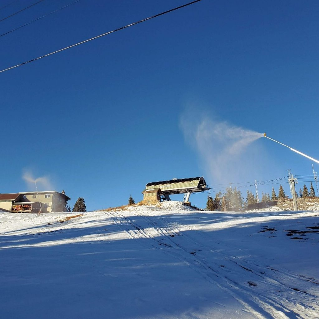 Snow guns that are part of the expanded snowmaking system at Aspen Mountain were fired up on Nov. 1.