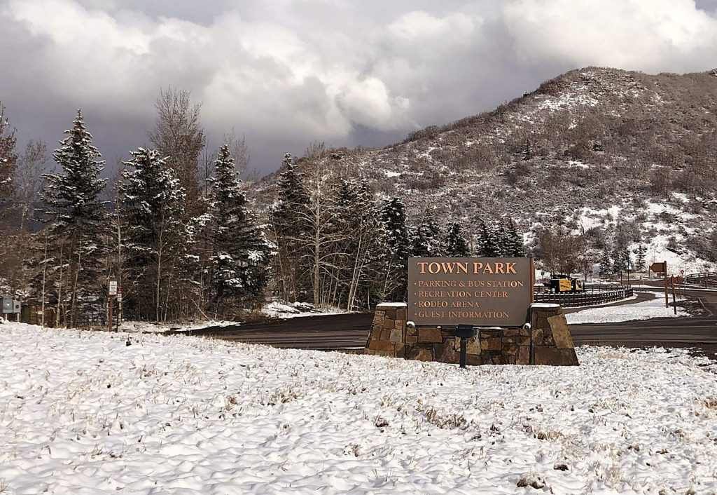 A sign marks the entrance to Town Park off of Brush Creek Road in Snowmass Village. Town Council continued discussions and review of the Town Park redesign Monday night.