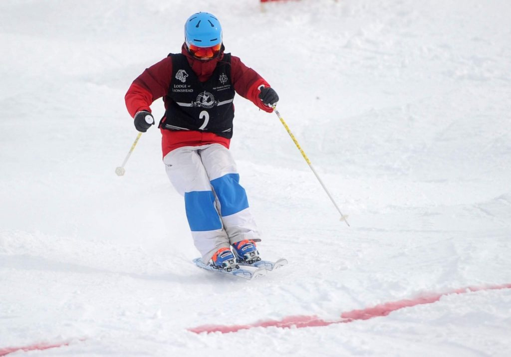 Steamboat Springs Winter Sports Club mogul skier Kenzie Radway approaches the finish line on at Steamboat Resort. (File photo)