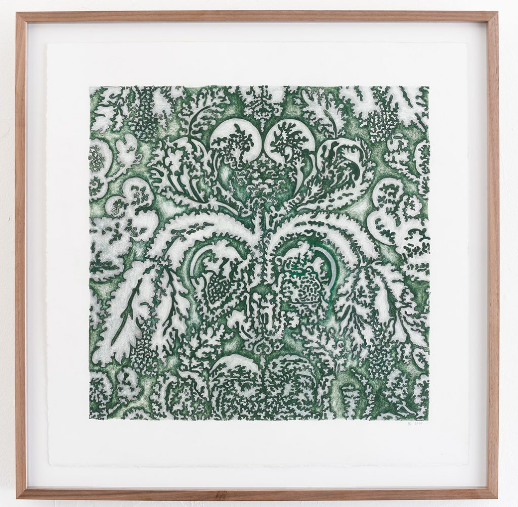"""Jeanne Quinn, """"Jaquard Drawing (green),"""" 2020, Ink and colored pencil on paper, 22.5"""