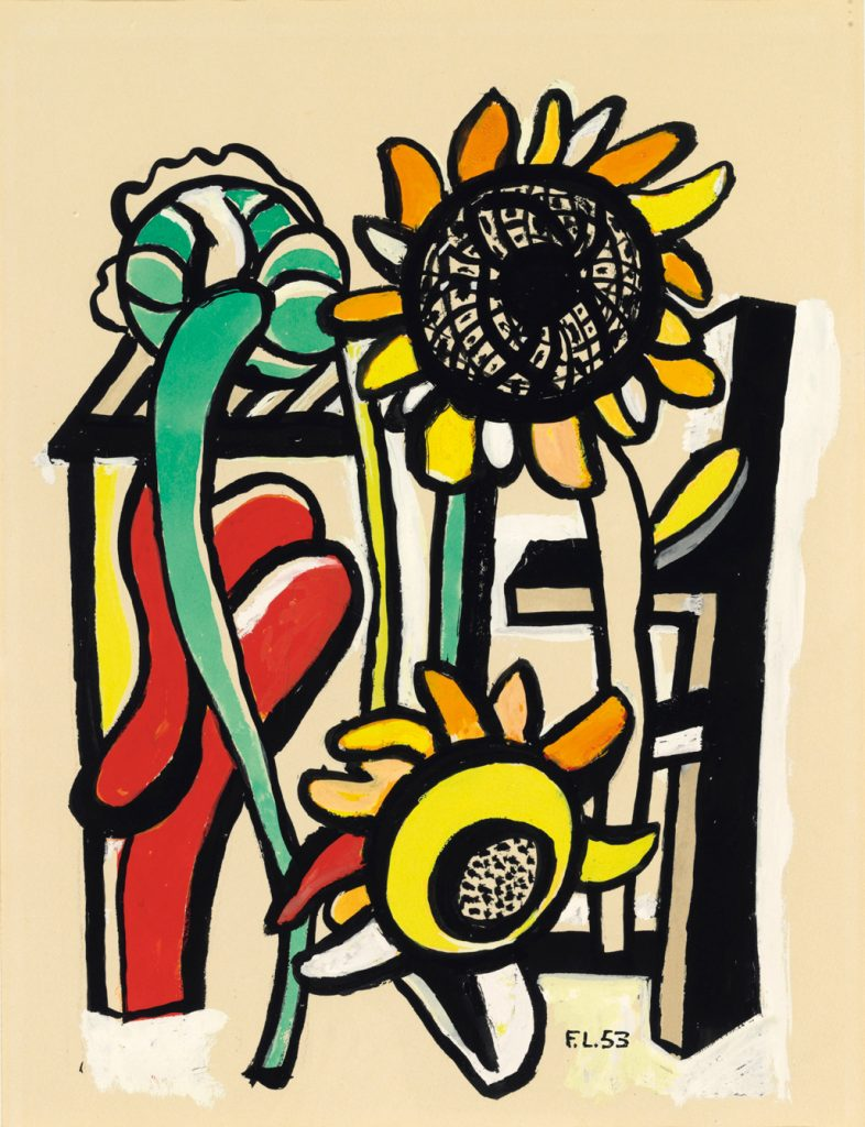 """Fernand Léger, """"Les Trois soleils,"""" 1953, Gouache, brush and India ink on paper 17.5"""