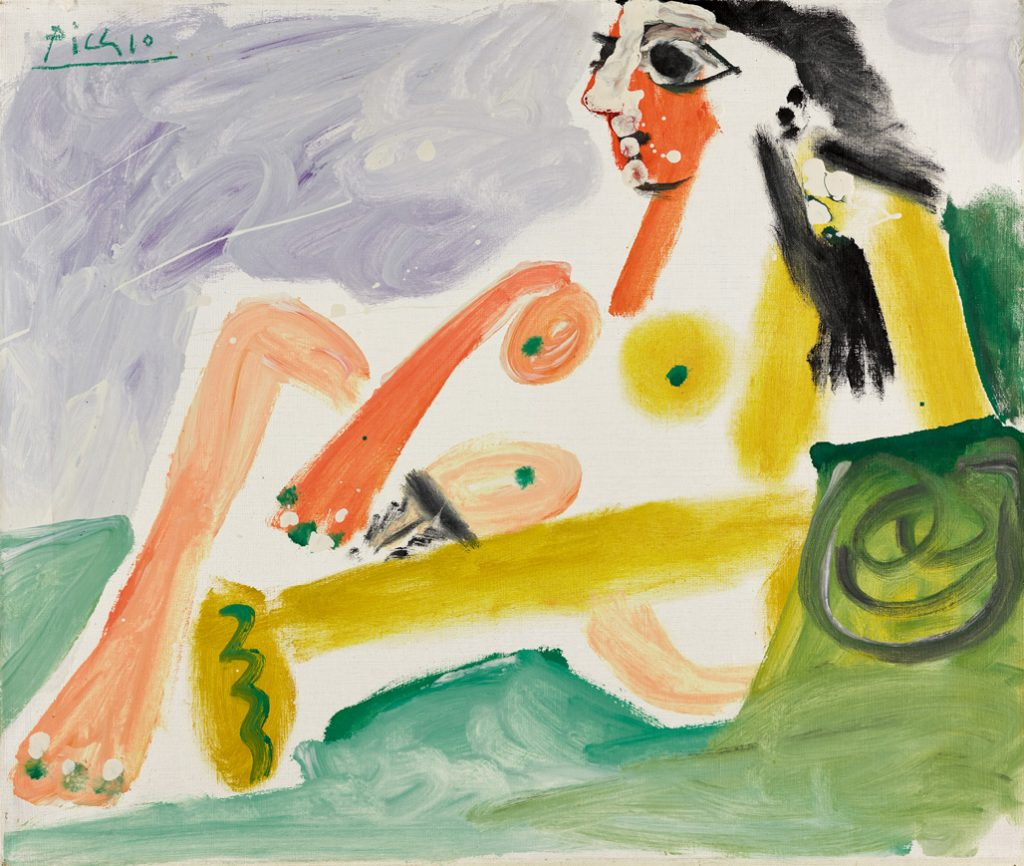 """Pablo Picasso, """"Nude Woman Leaning on Pillows,"""" 1964, Oil on canvas 21.3"""