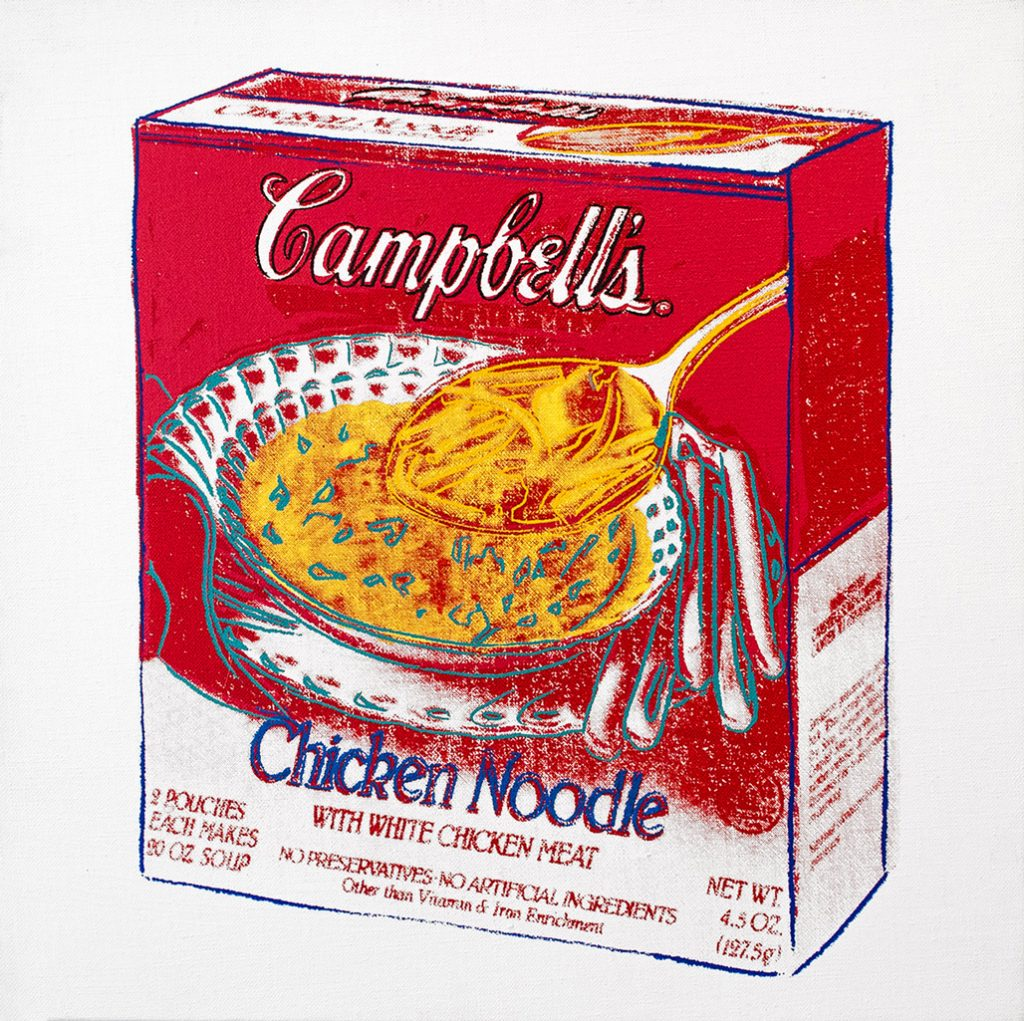 """Andy Warhol, """"Chicken Noodle Soup Box,"""" 1986, Acrylic and silkscreen on canvas 14"""