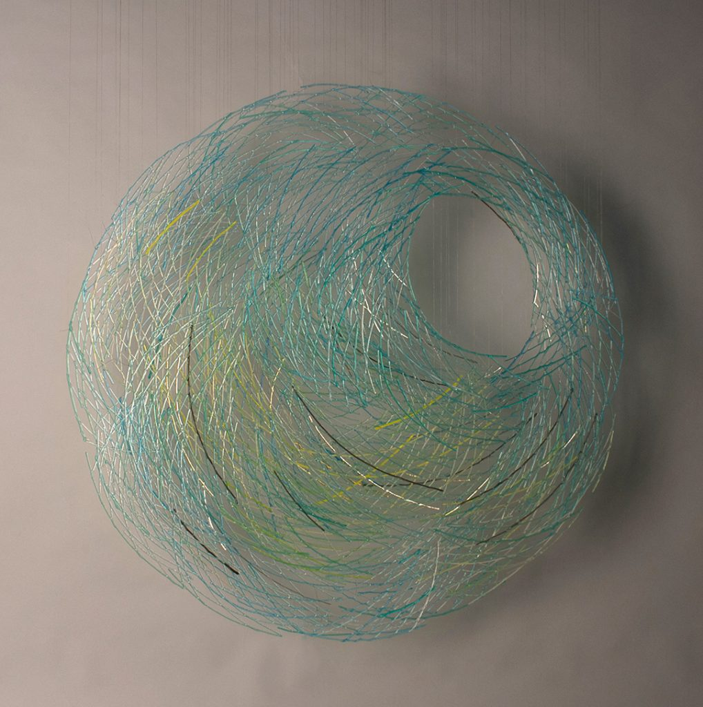 """Harue Shimomoto, """"Kooru Yoru"""" (Frozen Night), Fused and assembled glass suspended on wire filament, 36"""